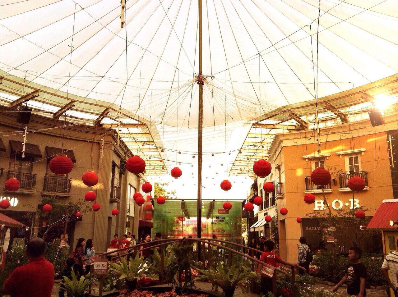 Lanterns Hanging From Sunshade During Chinese New Year