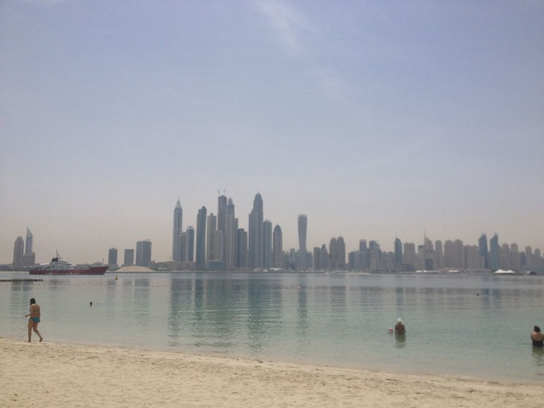 Tanning in the Palm Island Heat Palm Island Beach Enjoying The Sun Getting A Tan Dubai