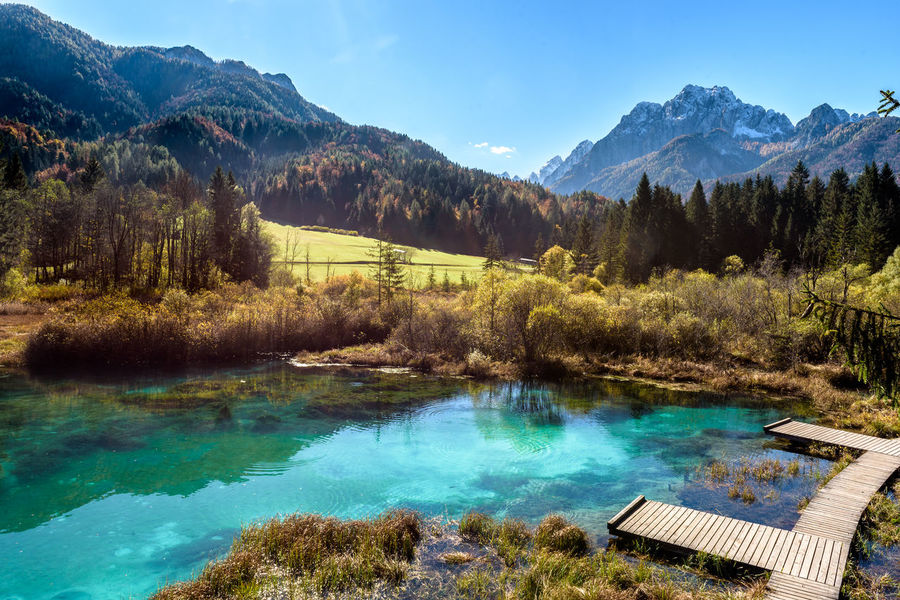 Alps Beauty In Nature Day Kranjska Gora Lake Lake View Landscape Mountain Mountain Range Mountains Nature No People Outdoors Sava Scenics Sky Slovenia Tranquil Scene Tranquility Tree Water Zelenci