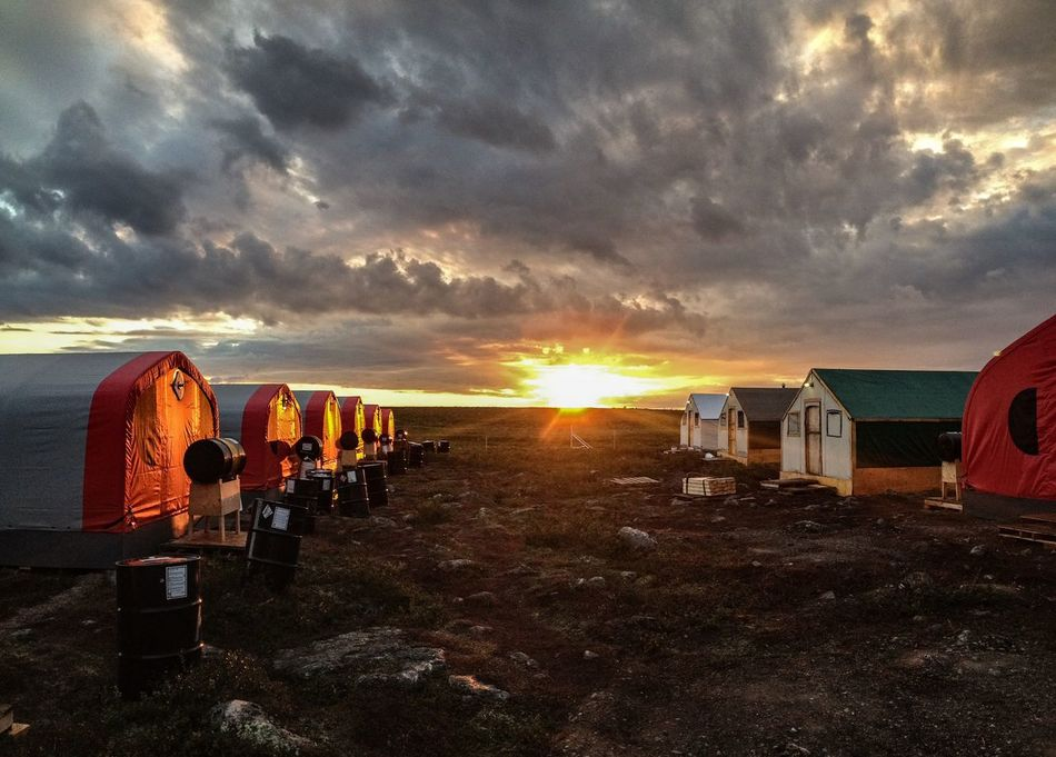 Landscape Arcticcircle Dusk No People Mining Camp Outdoors Beauty In Nature Overcast Cloud - Sky Sun Sunset Extreme Temperature Roadlesstravelled Wanderlust