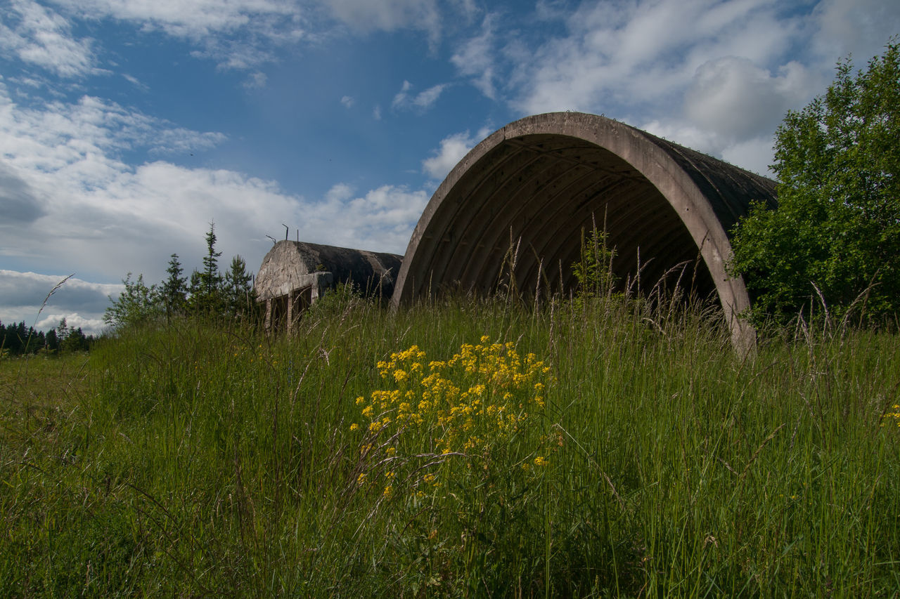 Abandoned Military Struc Cloud - Sky Day Grass Military Nature No People Outdoors Sky Soviet Leftovers Soviet Military Buildings Cold War Relic