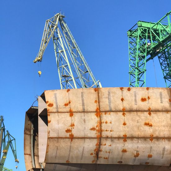 Low Angle View Clear Sky Blue Outdoors Shipbuilding Yard Ship Building Heavy Industry Gdansk Poland Steel Steel Industry Industry Industrial Sky No People Day Architecture Industry Construction