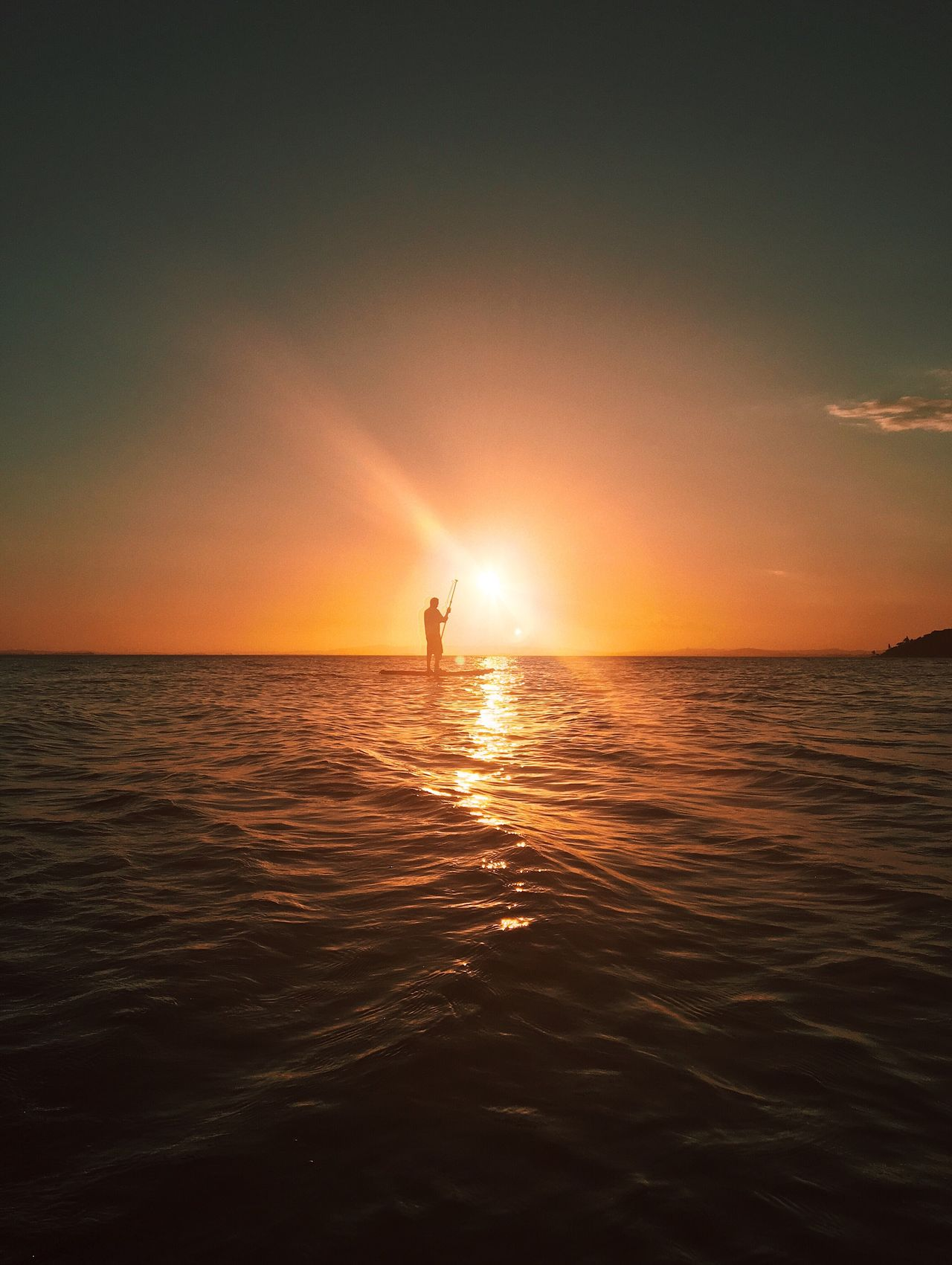 Every day is a day to stand up for something. Sea Sunset Horizon Over Water Water Scenics Sun Nature Beauty In Nature Idyllic Tranquility Reflection Tranquil Scene Sunlight Sky Outdoors Real People Adventure Vacations One Person Day Stand Up Paddling Sports Summer Sunrise Silhouette