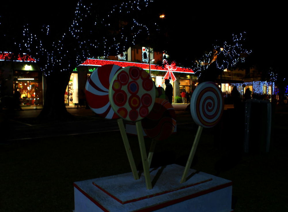 Christmas Decoration Christmas Lights City Illuminated Italy Leccalecca Light And Shadow Lollipop Luci Luci E Ombre Messina Multicolors  Natale  Night Nightlife Outdoors People Shops Sicily Silhouette Trees