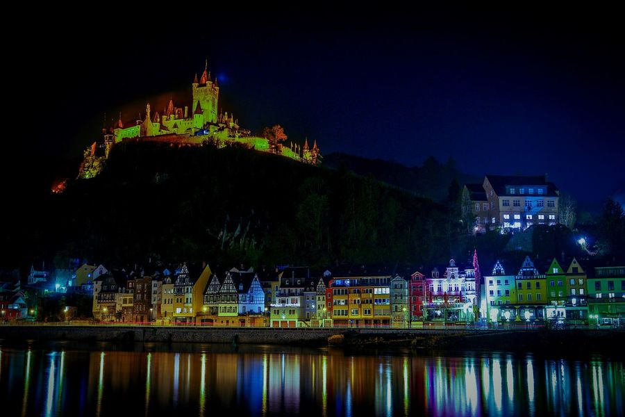 Night Architecture Ancient No People Outdoors Built Structure Building Exterior Cityscape Urban Skyline City Water Sky Valley Mosel Mosel River In Germany Germany Photos Cochem In Autumn Cochem An Der Mosel Cochem City Architecture Vineyard Forest Moselschleife Landscape