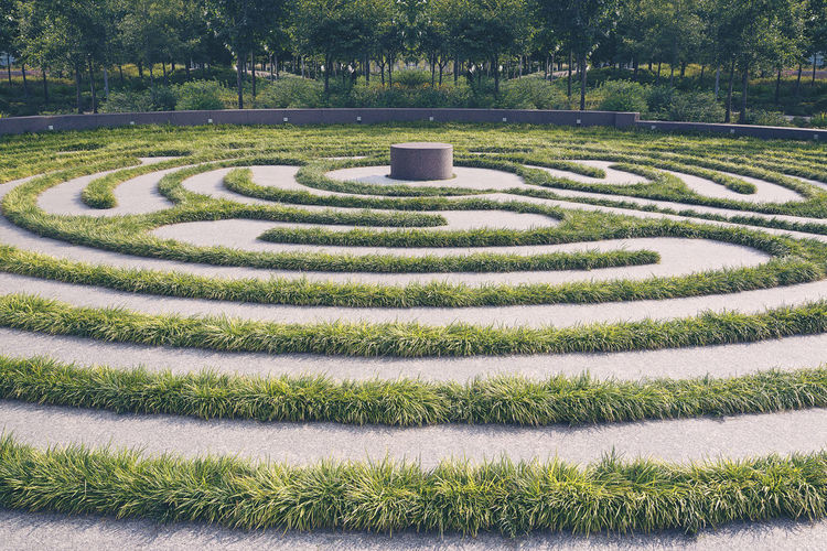 Cincinnati Ohio Grass Labyrinth Lirope Path Smale Riverfront Par Trees Walking Meditation Circular Day Maze No People Outdoors Poured Concrete Storm Cloud Tranquility Urban