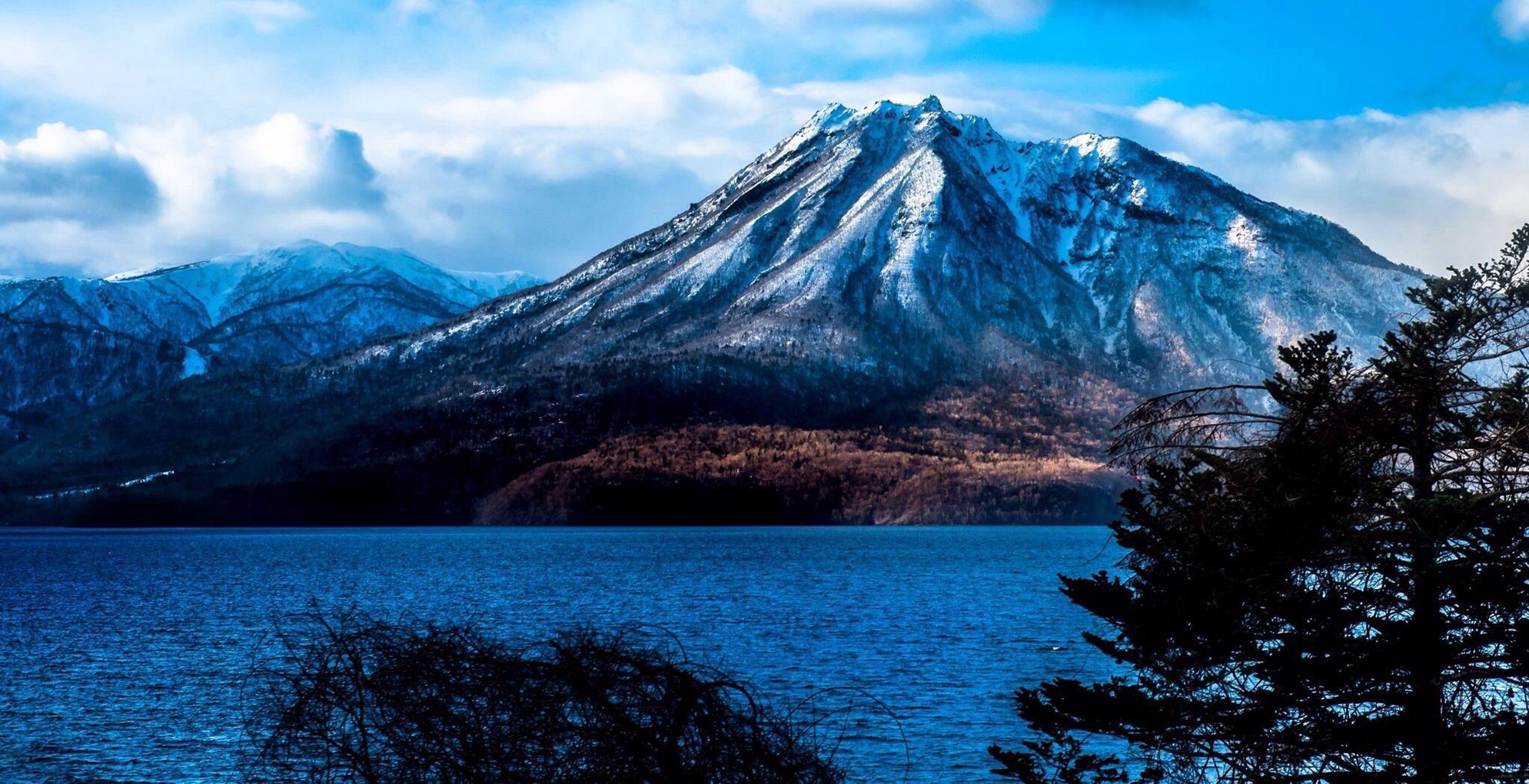 A mountain in Hokkaido, Japan Japan, Volcano, Lake, Sunset, Landscape