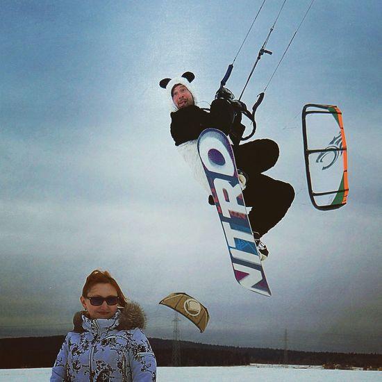 Snowkiting Kite Snowboarding Spring Panda Taking Photos Jamp!