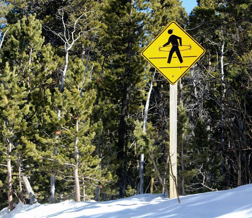 Winter Signs Hoola Hoop Road Forest Discovering Colorado Rocky Mountains