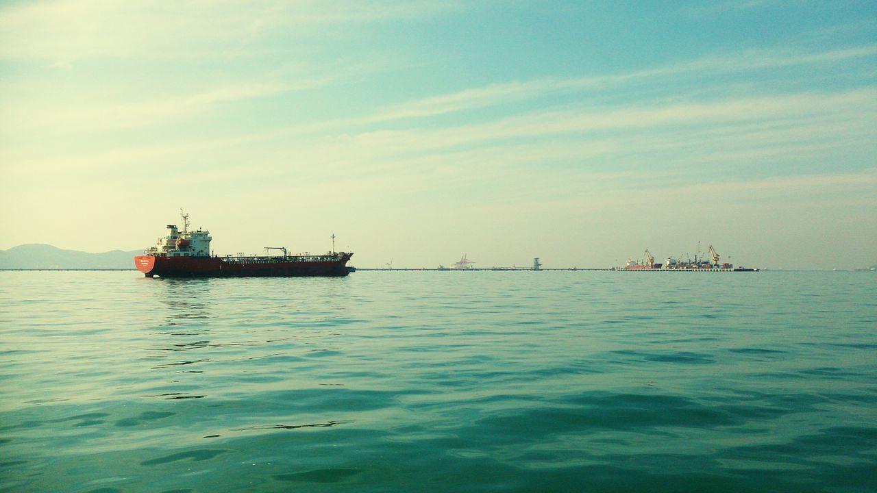 Sea Seaview Big Ship Ship Tanker Eye4photography  Ilovephotography Blue Sky Sky Marina Sky And Sea