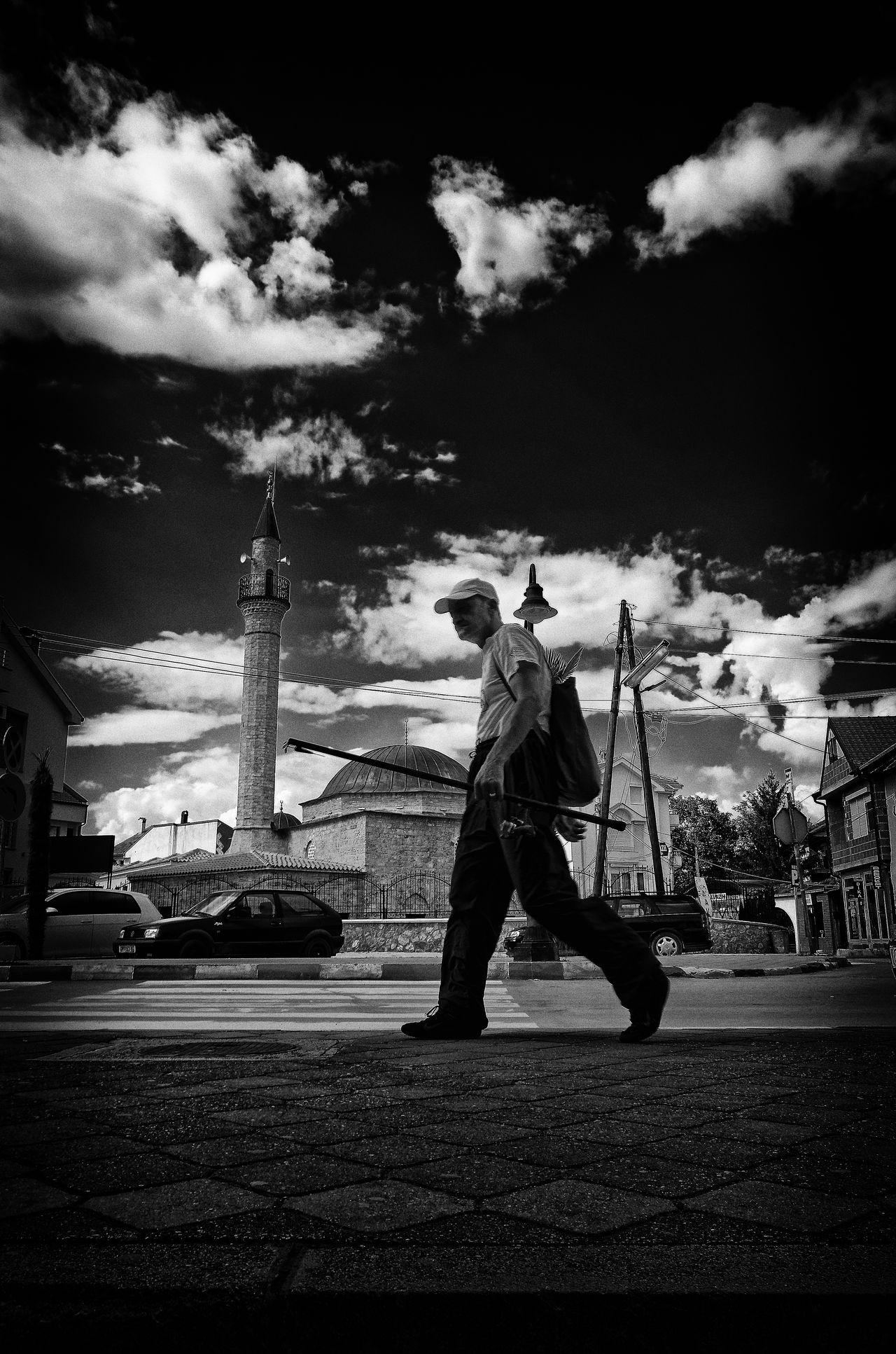 The Fisherman And The Minaret Adult Black & White Blackandwhite Minaret One Man Only Street Photography Streetphoto_bw Streetphotography Struga