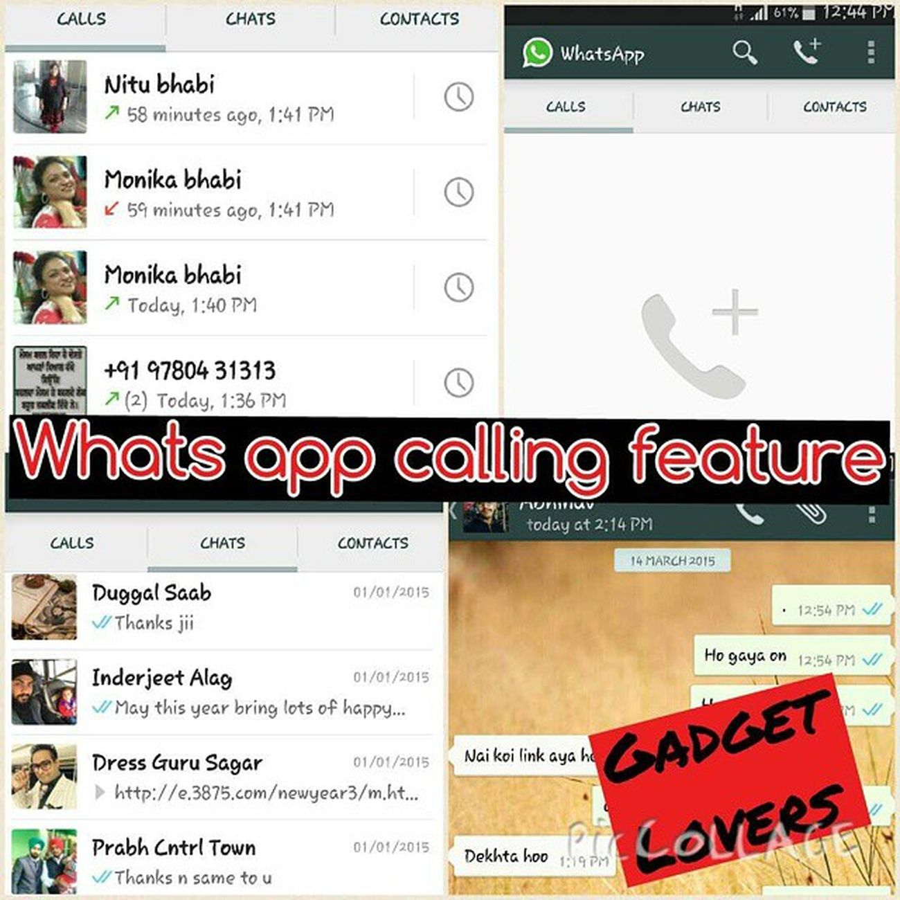 WhatsApp Calling Feature need Activation Gadget Android Lovers PicCollage  For activation message me on my whats app no +91 9888887248