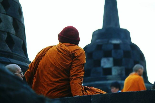 Morning meditation at Borobudur temple INDONESIA Java Indonesia Meditation Men Buddhist Temple Buddhist Morningmeditation Travel Photography Sunrise Traveling The World