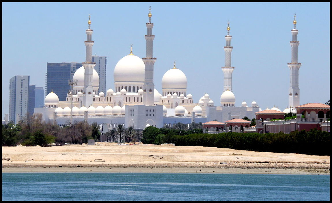 Abu Dhabi Architecture Sheikh Zayed Mosque Tomb UAE Art Blue Sky Craftsmanship  Cultures Day Grand Mosque Pillars Travel Destinations Worship Places