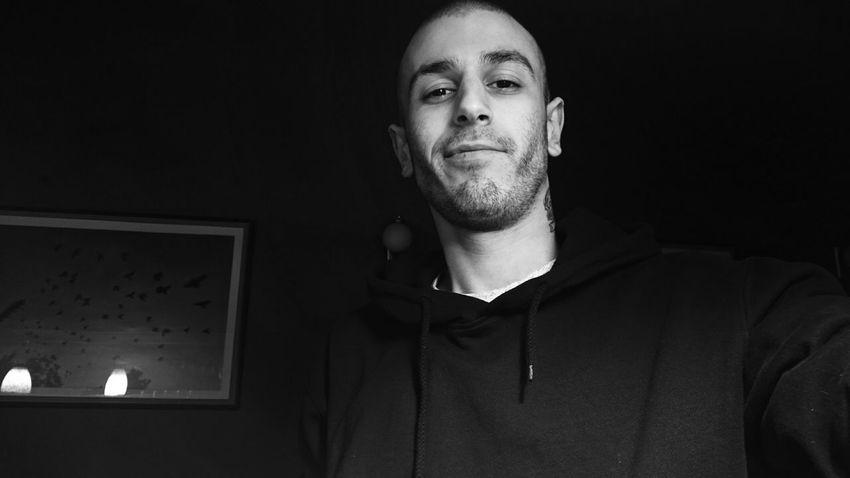 Black And White Selfportrait Dark Smile