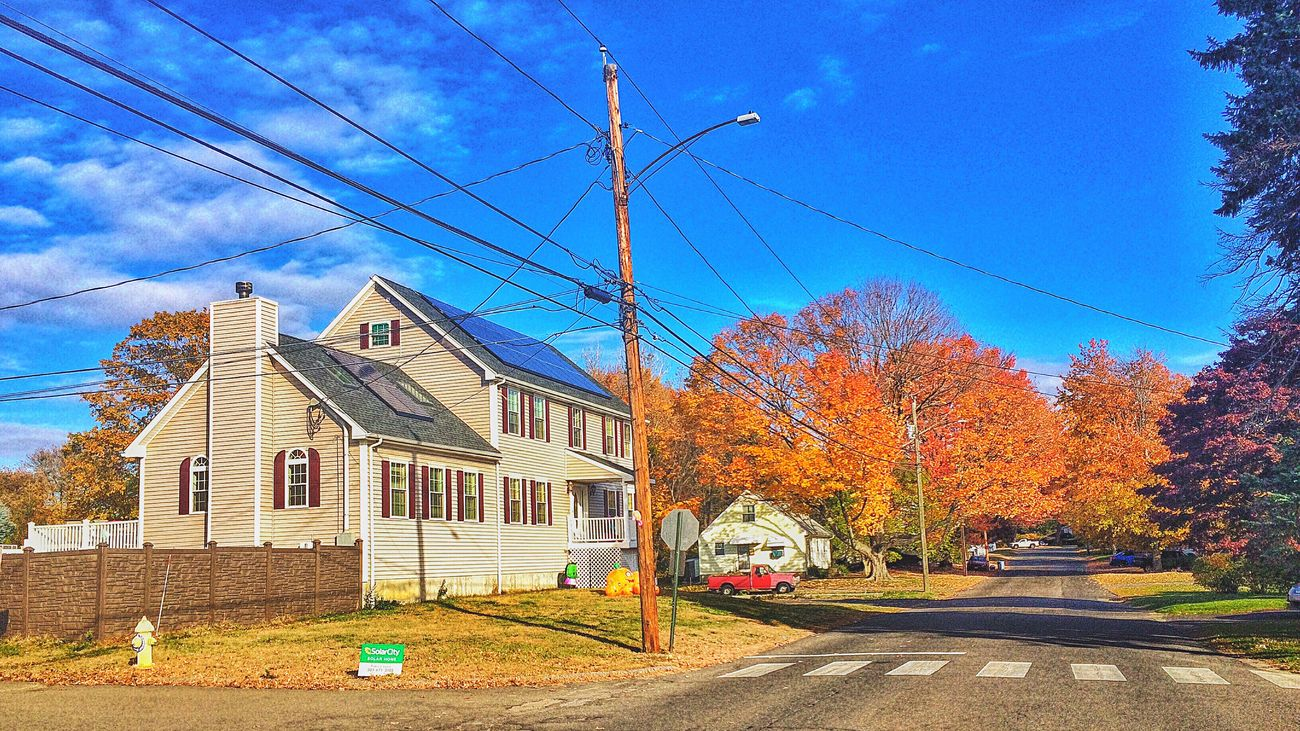 More of the neighbourhood Building Exterior Transportation Built Structure Architecture Sky Cable Car Outdoors Power Line  Power Supply Tree Mode Of Transport Land Vehicle No People City Day Walkabout Connecticut EyeEm Autumn Colors Neighborhood Neighbourhood Street