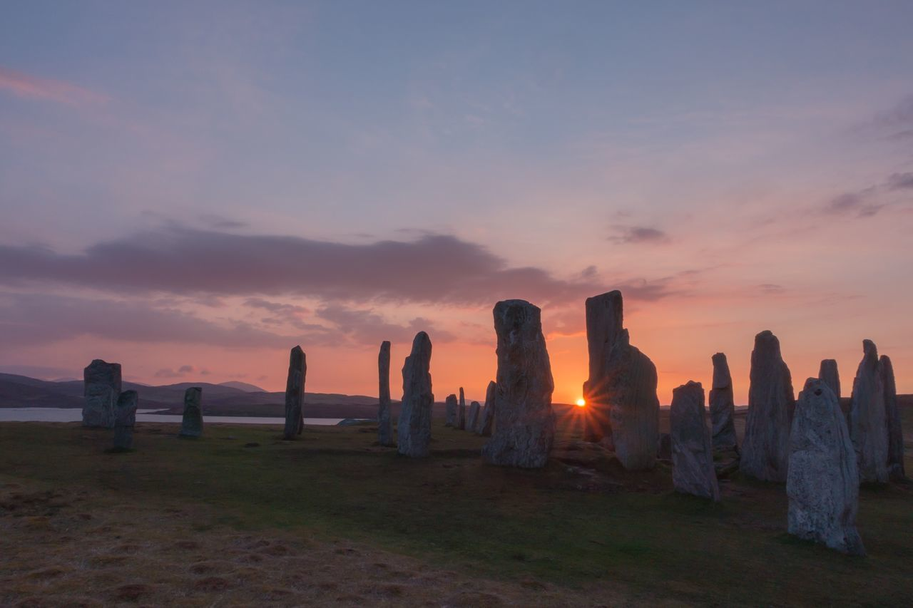 Nature Sky Beauty In Nature Tranquility Scenics No People Tranquil Scene Cloud - Sky Outdoors Sea Day Historic Ancient Civilization Landscape_photography Travel Photography Travel Tourism Scotland Standing Stones Sunrays Sunstar Callanish Sunset Outer Hebrides Lewis