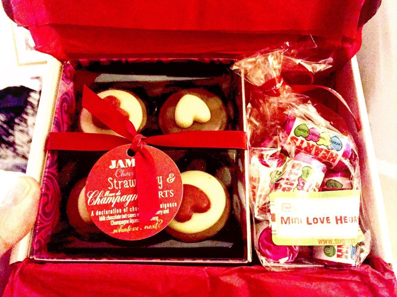 Valentine's gift box from Sugar Poke with chocolates and love hearts Sugar Poke Uk United Kingdom Northamptonshire Northampton Uk SugarPoke www.SuperPoke.com Gifts Gift Boxes Box Chocolates Strawberries Strawberry Sweets Swizzels Love Hearts