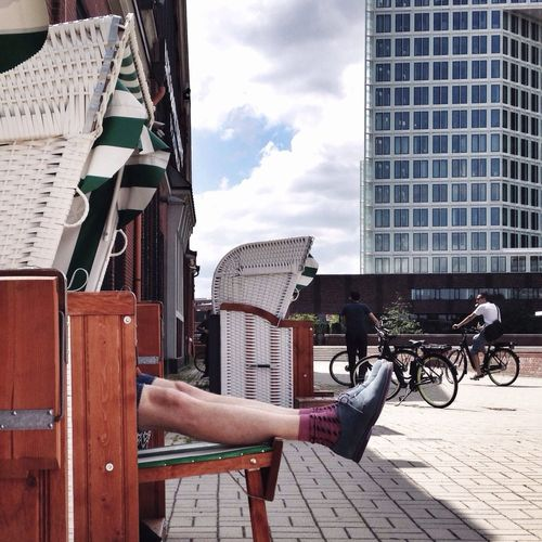 Beach Chair Relaxing In The City Public Space Use Hipster Socks