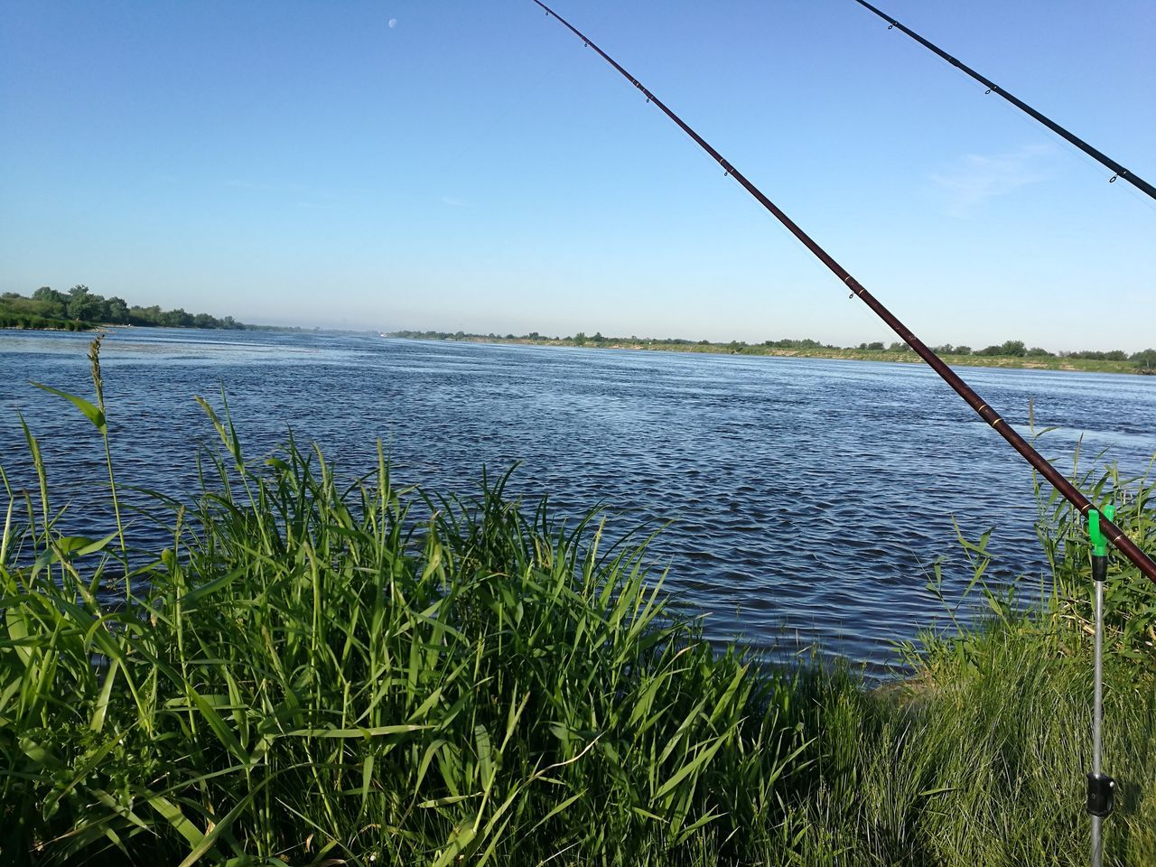 Water Lake Fishing Tackle Fishing Net Nature Fishing Day Outdoors Cable No People Scenics Grass Sky Beauty In Nature Nautical Vessel Clear Sky