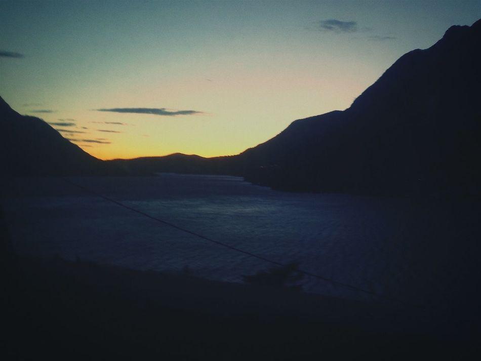 Enjoying Life Hello World Sun Twilight Lake Mountains