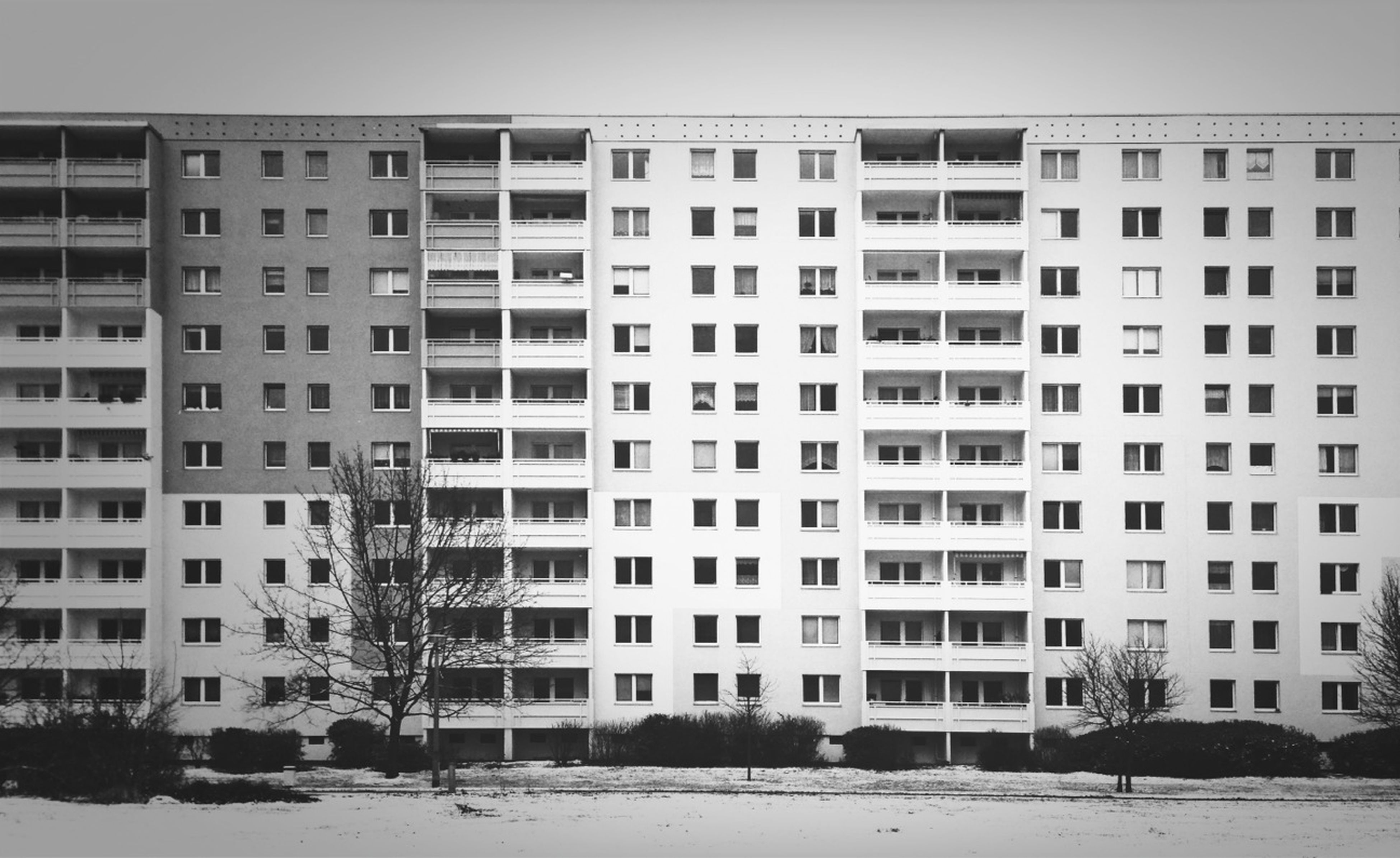 building exterior, architecture, built structure, window, building, residential building, residential structure, city, house, in a row, outdoors, day, exterior, repetition, no people, facade, snow, side by side, old, glass - material