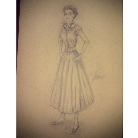 рисунок иллюстрация мода50 -х карандаш калякималяки пробаальбома девушка picture pencil black_and_white girls