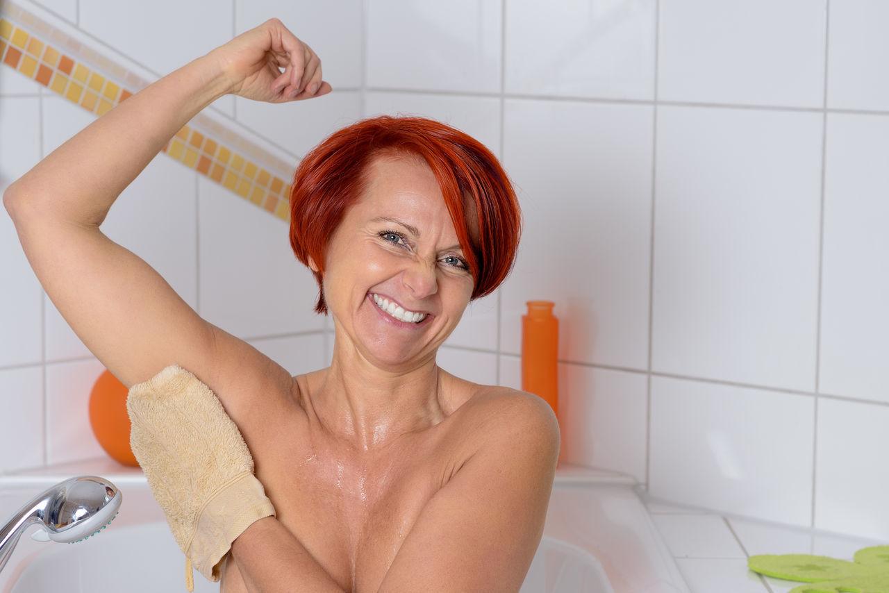 Beautiful stock photos of badezimmer, one person, headshot, indoors, happiness