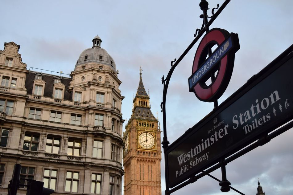 Travel Destinations Architecture Tourism City Travel Outdoors Built Structure History Building Exterior Low Angle View Sky Day No People Cityscape Clock Face Politics And Government NIKON D5300 Nikonphotography EyeEm London Big Ben Tube Station