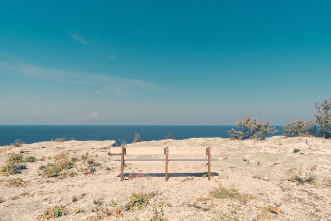 Beauty In Nature Blue Calm Coastline Day Empty Grass Horizon Over Water Idyllic Landscape Nature No People Non Urban Scene Non-urban Scene Ocean Outdoors Popular Photos Remote Scenics Sea Shore Sky Tranquil Scene Tranquility Water