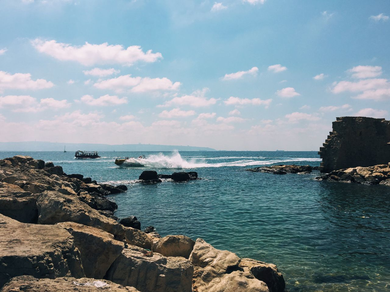 Water activities Sea Water Rock - Object Horizon Over Water Sky Tranquil Scene Scenics Tranquility Beauty In Nature Nature Rock Formation Non-urban Scene Shore Blue Cloud - Sky Day Outdoors Geology Rocky Coastline