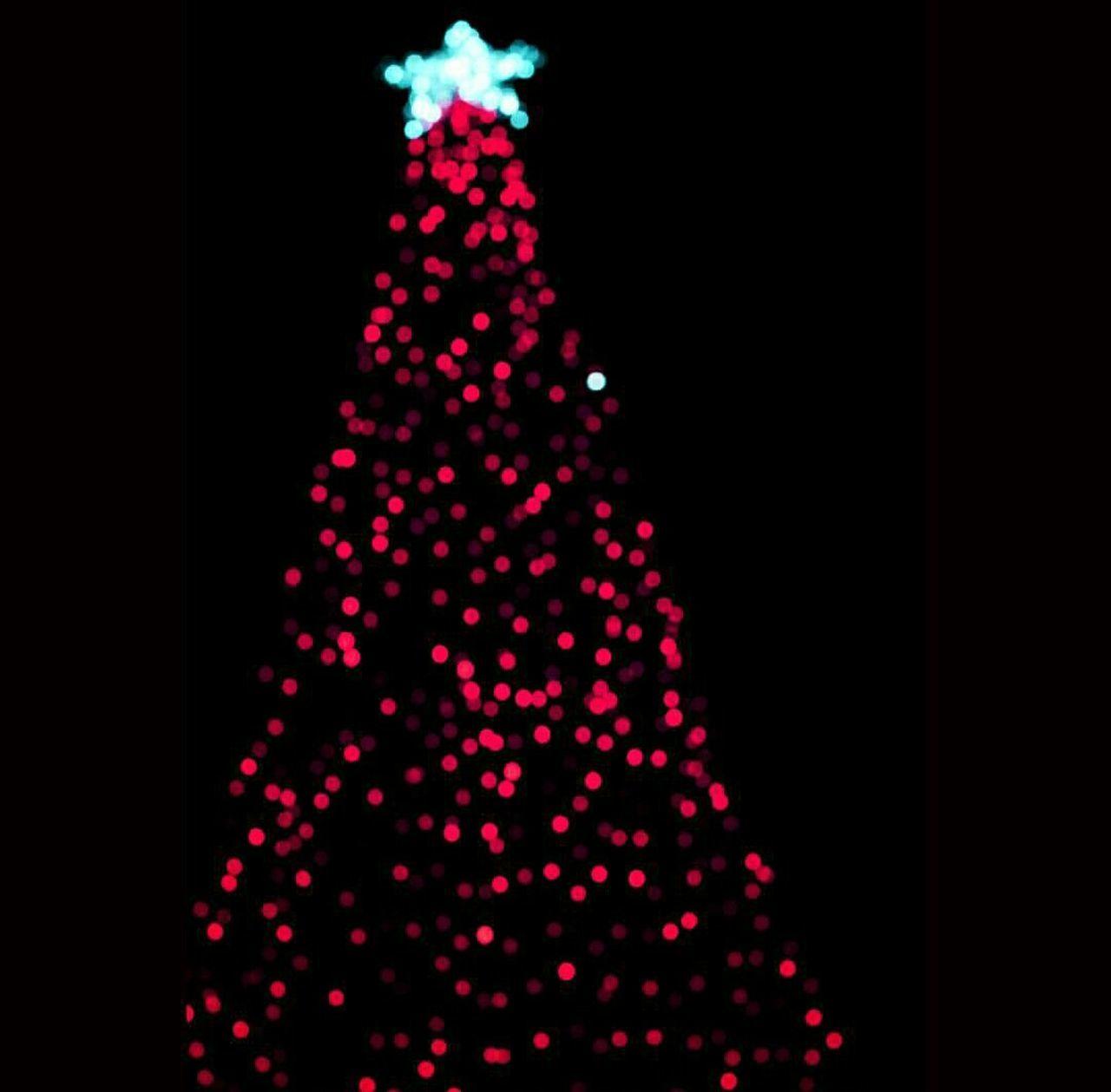 christmas, christmas decoration, christmas tree, pattern, defocused, studio shot, no people, christmas ornament, celebration, illuminated, christmas lights, black background, close-up, night, tree, indoors