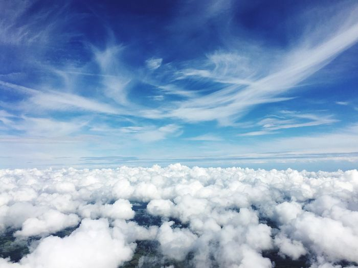 Color Palette Scenics Tranquil Scene Blue Beauty In Nature Cloudscape Tranquility Aerial View White Sky Majestic Idyllic Nature Cloud White Color Softness Fluffy Day The Natural World Ethereal