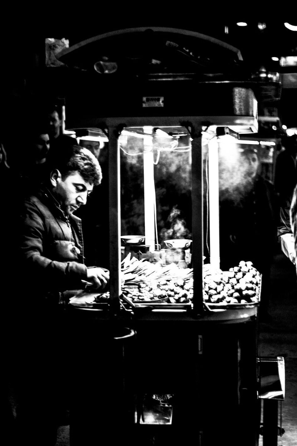 EyeEmNewHere Monochrome Istanbul Turkey Black & White Blackandwhite Black And White Chestnut Taksim Square Istanbul Archival Adults Only Only Men Indoors  Service AdultTaksim Meydanı People Occupation Men Night Fast Food Taksimbeyoglu Taks EyeEm Diversity