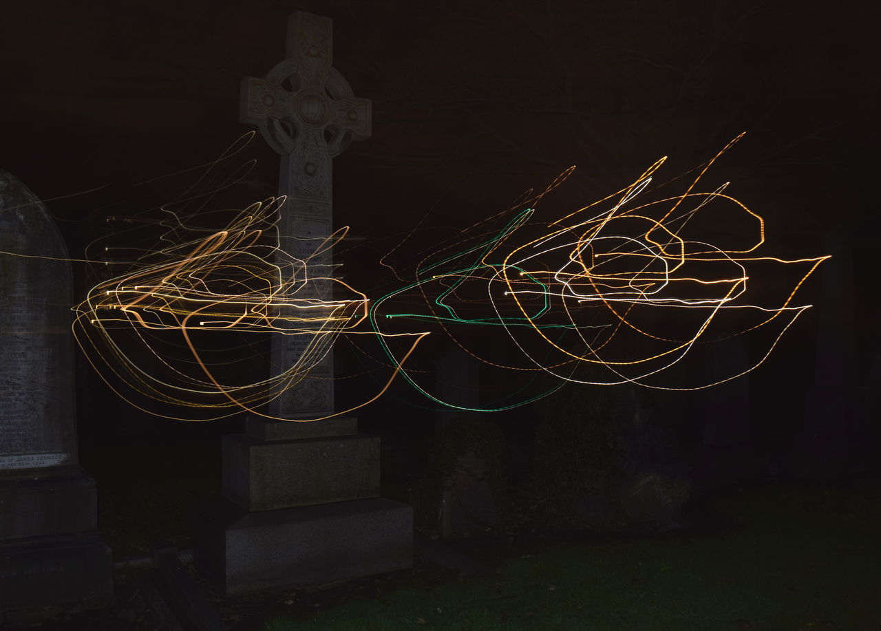 Trippy Black Background Different Perspective Grave Yard Beauty Light Painting Movement Night Nightlife No People Outdoors Unique Perspectives The City Light EyeEmNewHere Carnival Crowds And Details