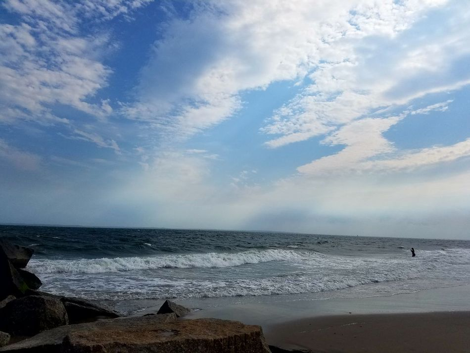 Coney Island Beach View My Prespective New York Water Sand Sky And Clouds Small Waves Sky Lover