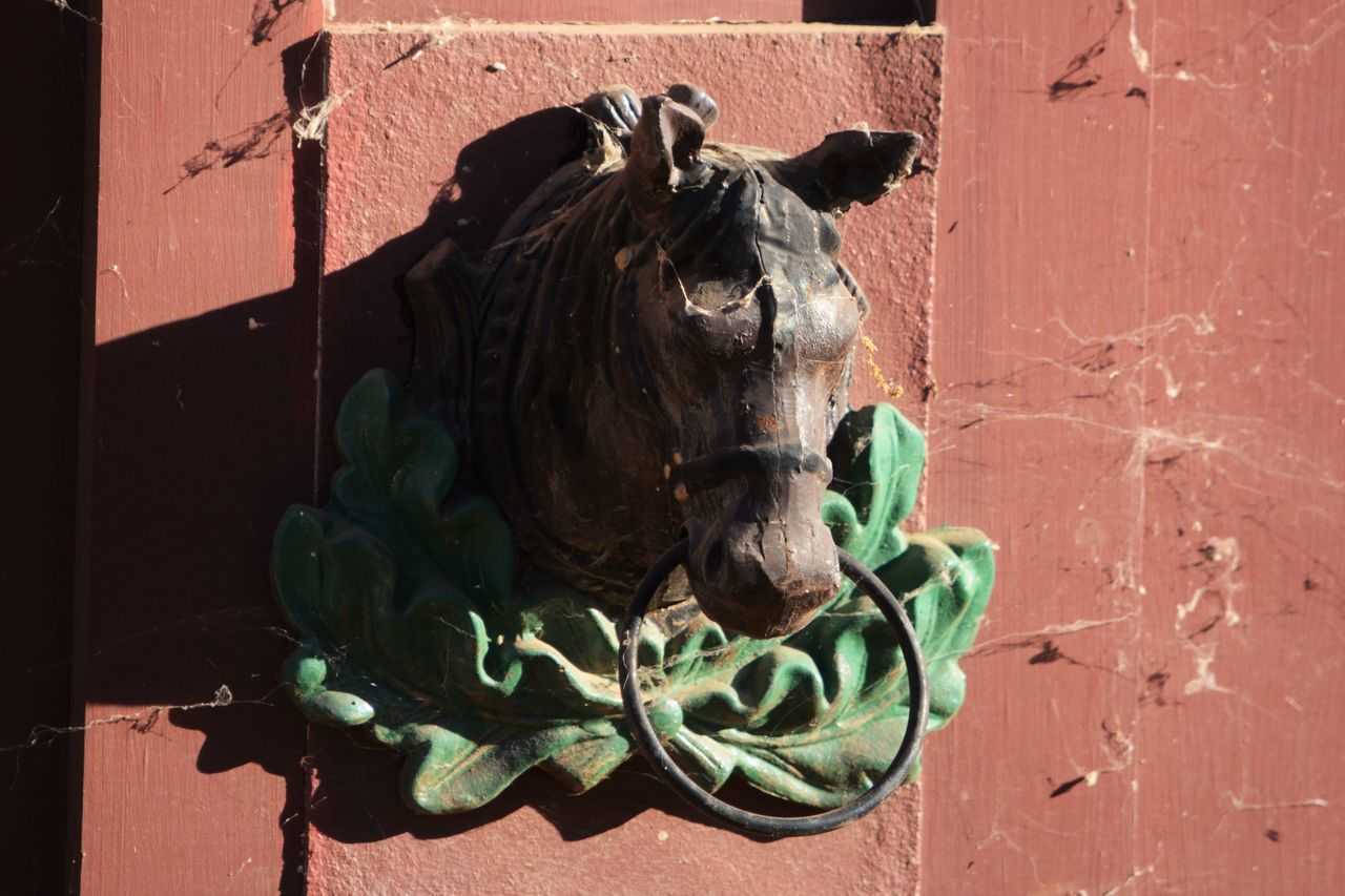 Hanging On Antique Barn Door California Green Color Hitchcockian Hitching Ring Horse Head Red Color Western Wooden Wooden Horse