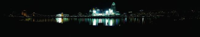 Bridges Cities At Night Cincinnati Riverscape Waterscape Watercolor Lights On Water Water Reflection