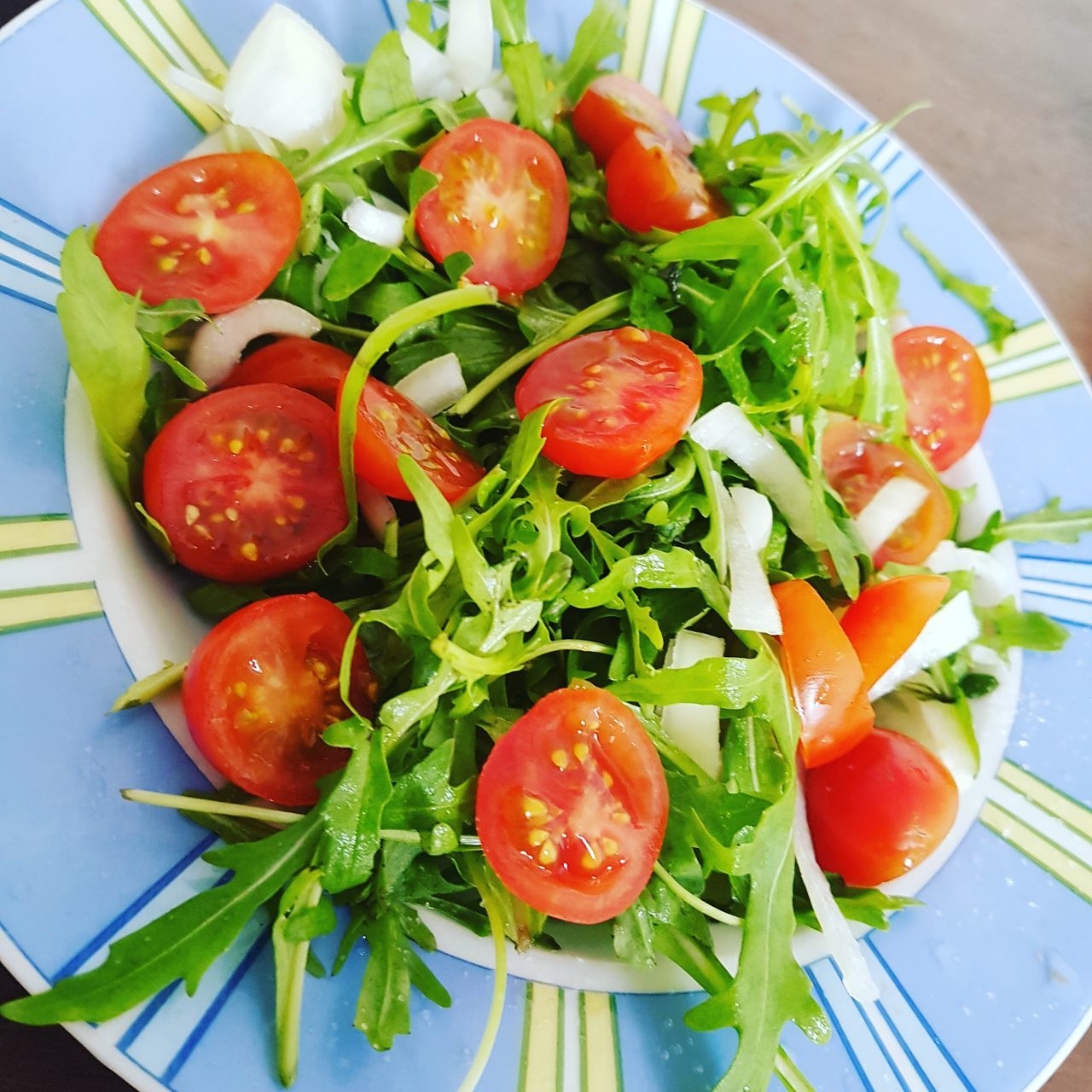 food and drink, food, healthy eating, freshness, tomato, salad, vegetable, no people, plate, high angle view, indoors, table, leaf, ready-to-eat, green color, red, close-up, day