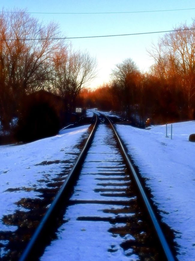 Winter Snowscape Oswego, IL Park Landscape Train Tracks Waubonsie Creek, Oswego, Illinois Creek Trees Sunset