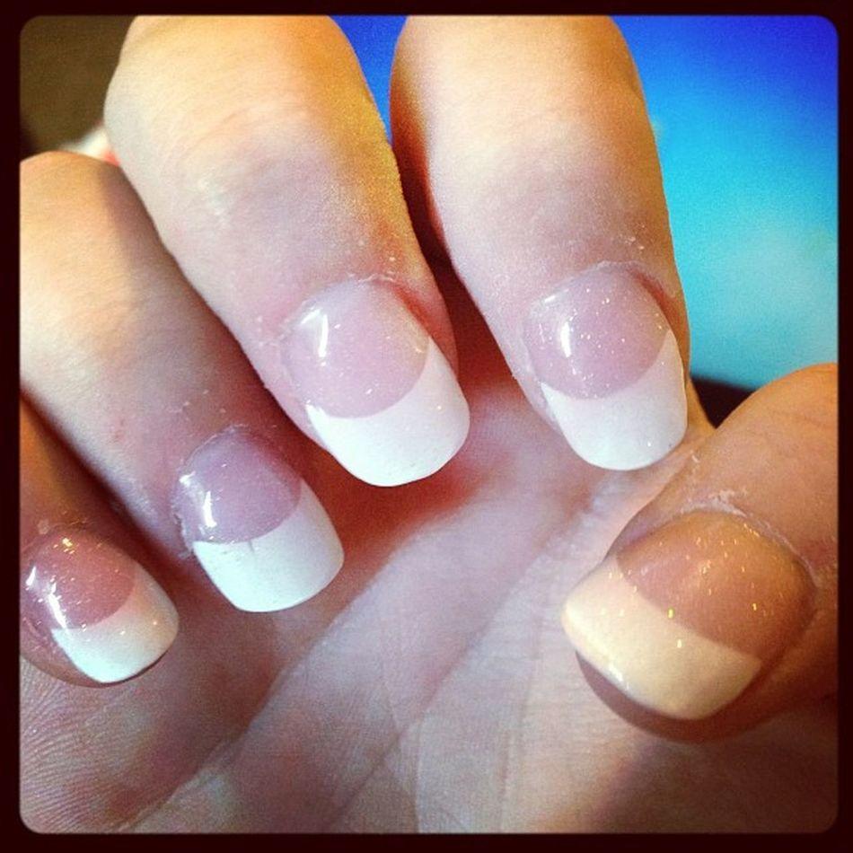 Lucia hooked me up with sparkly nails! Eyebrows Eyebrowwax Wax Waxing nails mani manicure frenchnails frenchtips esme esmereldas spa salon az arizona stressreliever