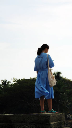 Adult Asian Girl Beautiful Woman Day Fort Kochi Girl In Blue Dress Gods Own Country Kerala Tourism One Person Outdoors People Pretty Girl Tourist