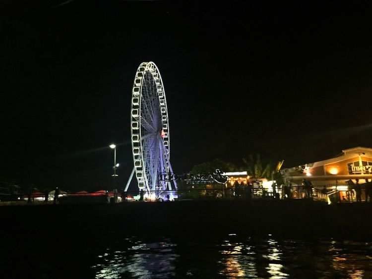 Finding New Frontiers Ferris Wheel Night Arts Culture And Entertainment Illuminated Waterfront Water Architecture Amusement Park Building Exterior Outdoors No People Amusement Park Ride Big Wheel Sky Thailand Asiatique The Riverfront Tourist Attraction