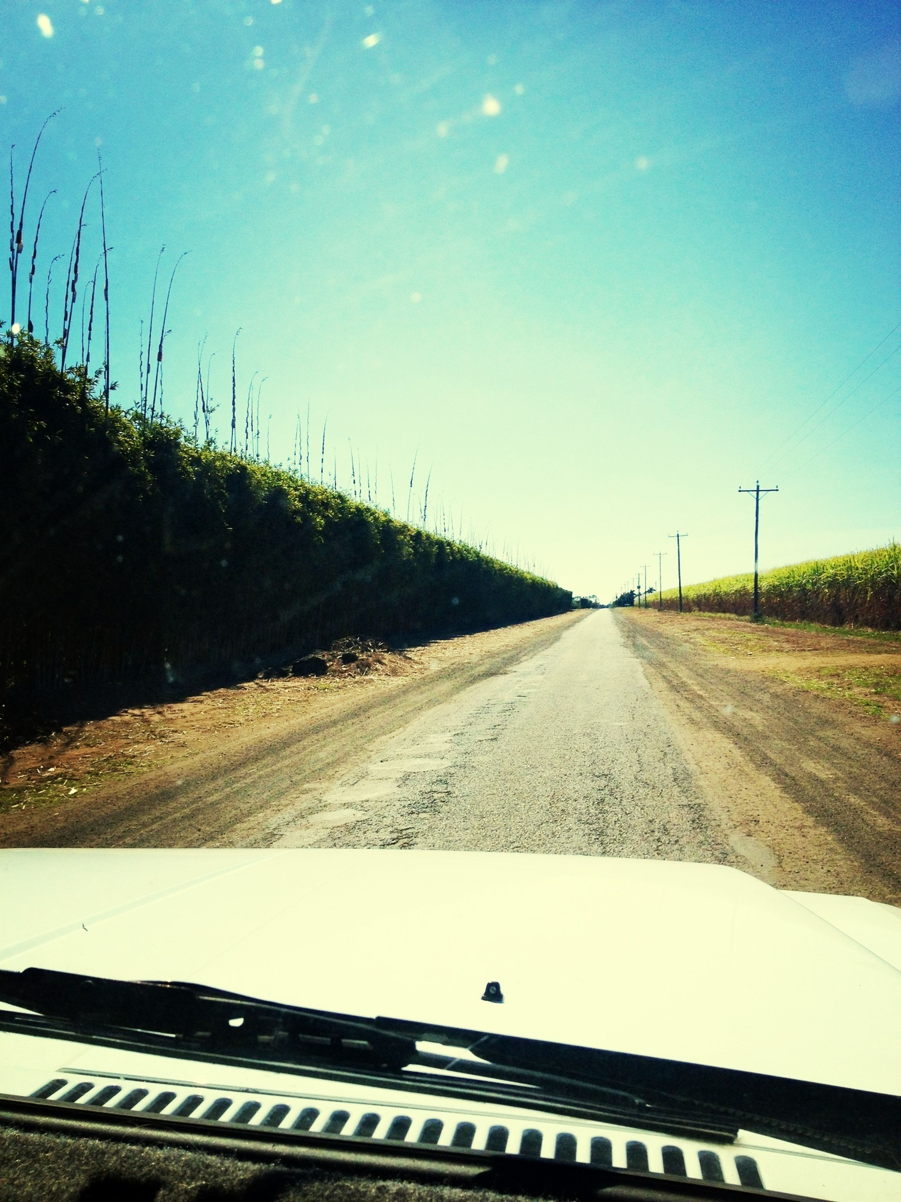 transportation, the way forward, road, clear sky, diminishing perspective, vanishing point, road marking, sky, nature, field, country road, blue, empty road, landscape, copy space, tranquility, grass, day, asphalt, sunlight