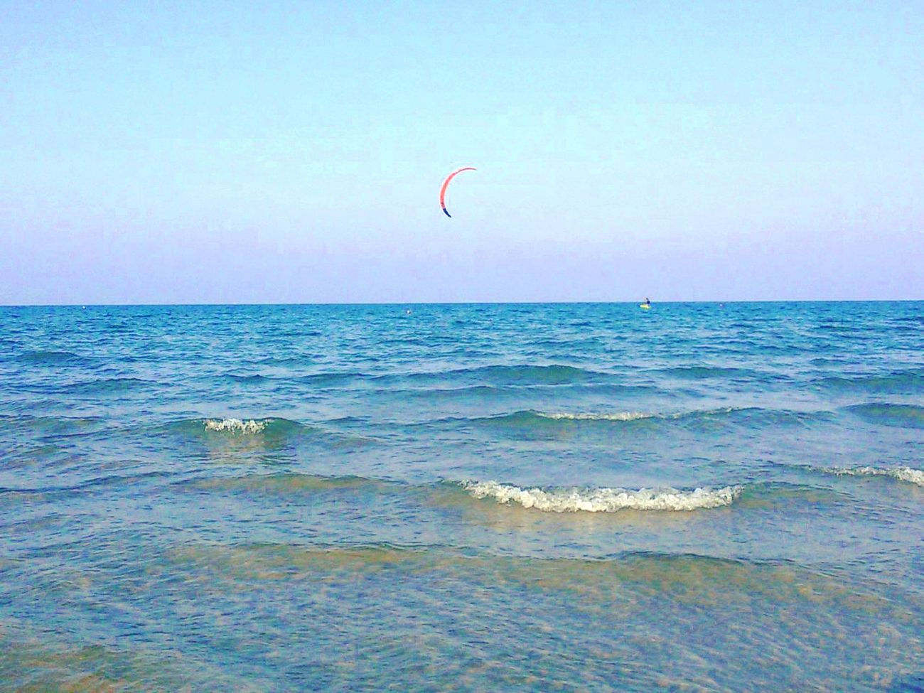 Sea_collection Horizon Over Water Kiteboarding Tranquil Scene Adventure Water Beach Enjoyment Extreme Sports Colorful Likeforlike Rimini Beautiful Sky Beach Life Photography Focus Followme Nature Sunny Day Sunnydays First Eyeem Photo