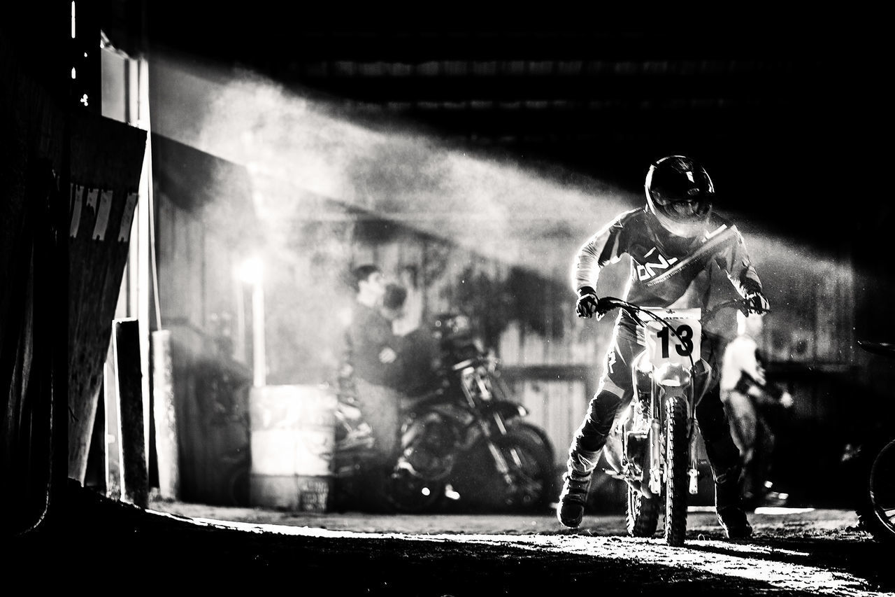 13 B&w Day Drama Dramatic Dust Dusty Face Guard - Sport Flat Flat Track Flattrack Headwear Indoors  Light Light And Shadow Men Motorcycle People Race Real People Shadow Smoke - Physical Structure Sport Two People Young Adult