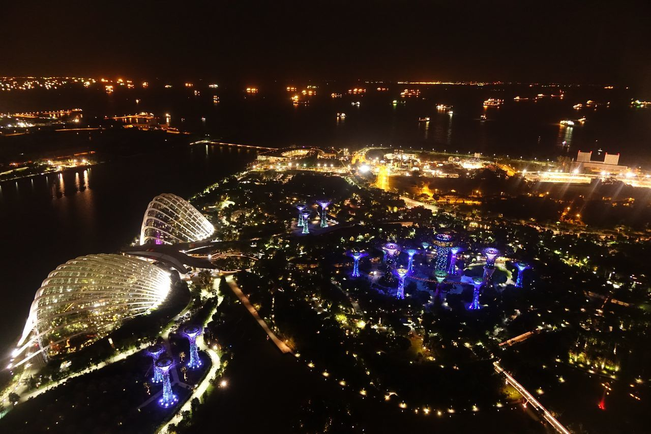 Aerial View City City Life Illuminated Night Night Life Singapore View From Marina Bay Sands Hotel Wide Shot