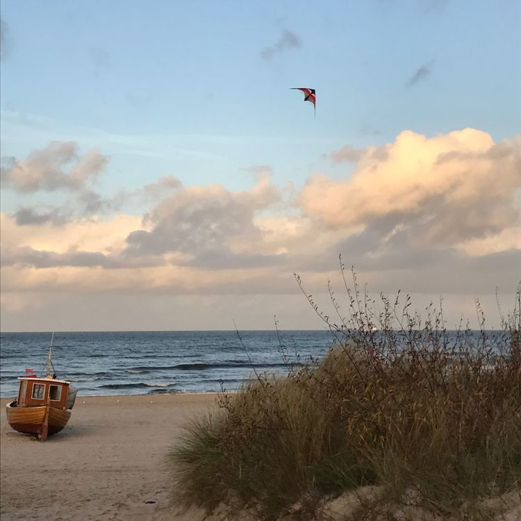 Beach Beauty In Nature Boat Boats Cloud - Sky Day Flying Horizon Over Water Kite Nature No People Outdoors Scenics Sea Sky Tranquil Scene Tranquility Water