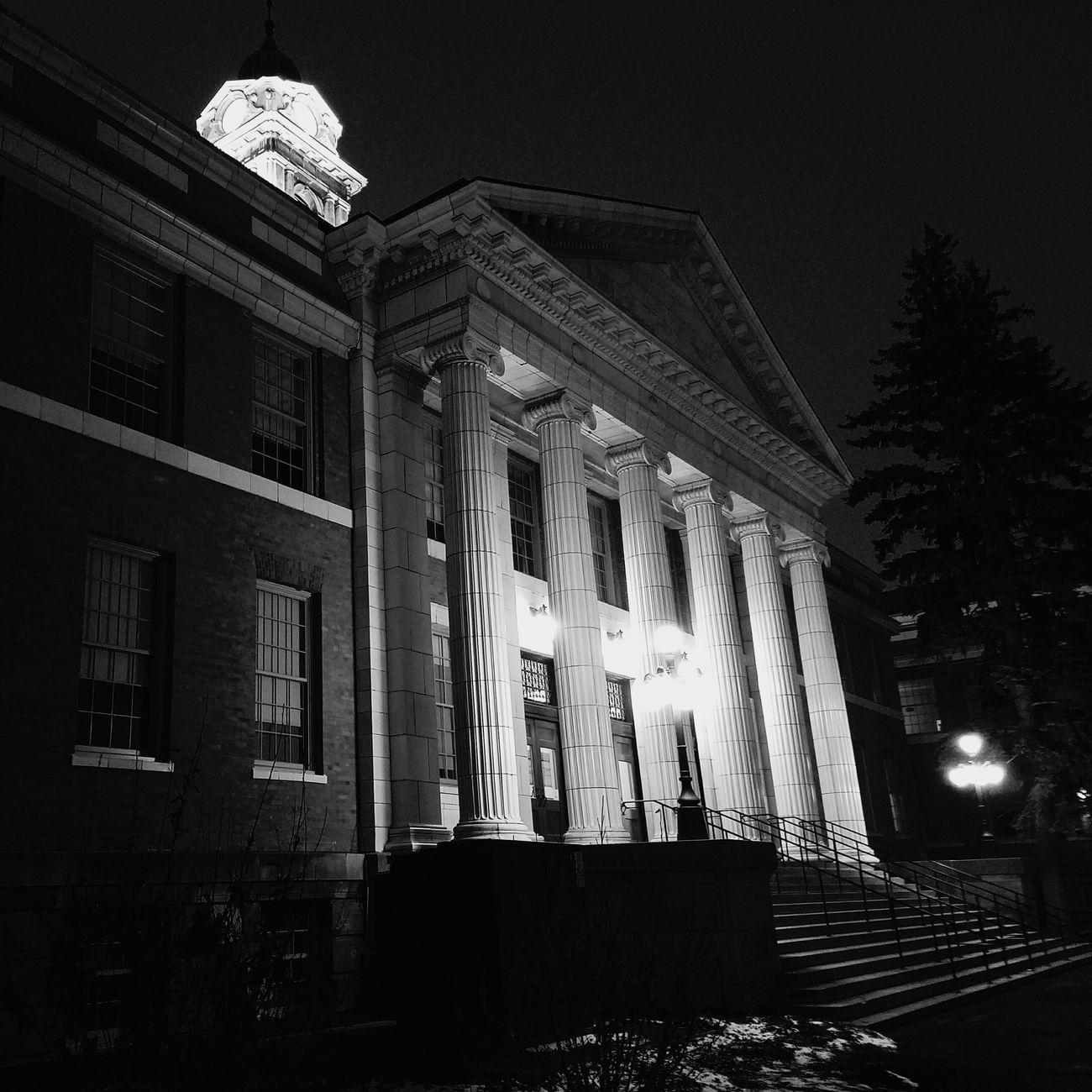 Architecture Building Exterior Black & White PhonePhotography Oswego Sheldon Hall