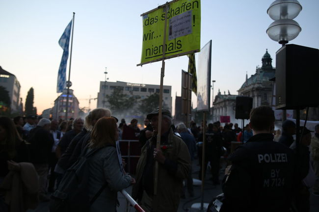 Pegida-participant talking to two counter-demonstraters. Counter-Protest Demonstration Pegida Racism First Eyeem Photo